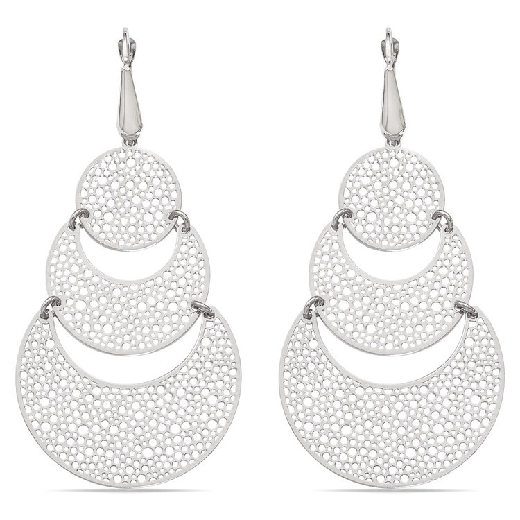 Cascading Bubble Filigree Dangle Earrings in White Gold | 01