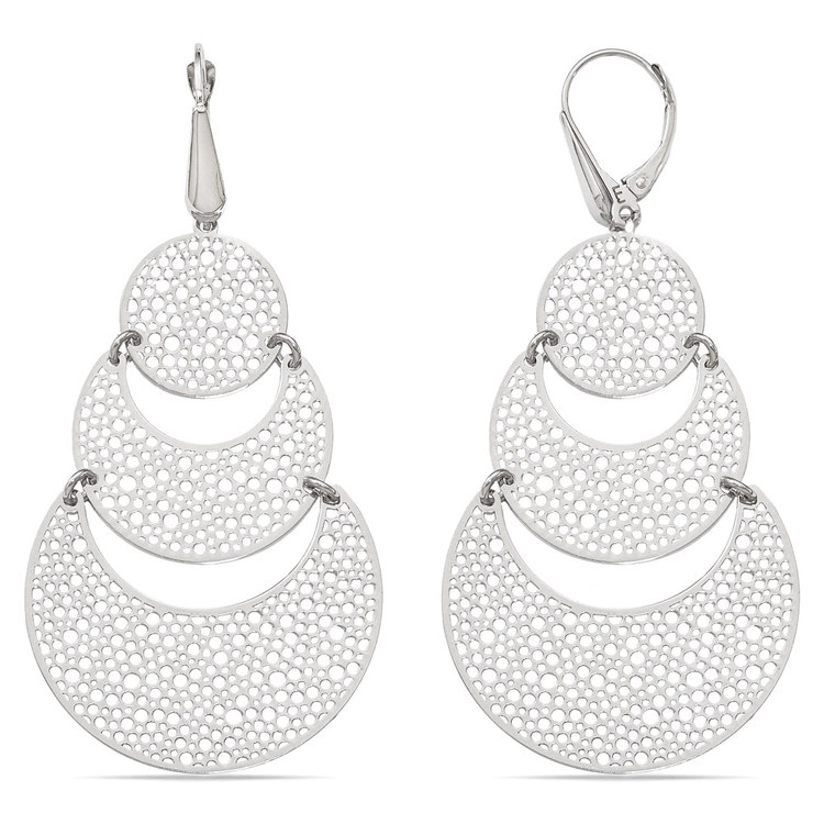 Cascading Bubble Filigree Dangle Earrings in White Gold | 02