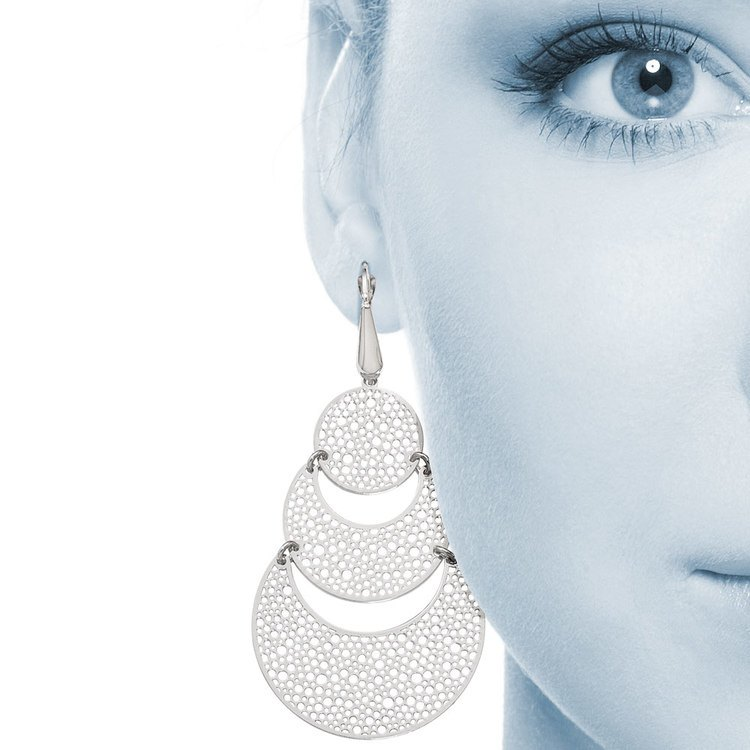 Cascading Bubble Filigree Dangle Earrings in White Gold | 04