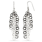 Circle Link Dangle Earrings with Blackened Finish in Silver | Thumbnail 01