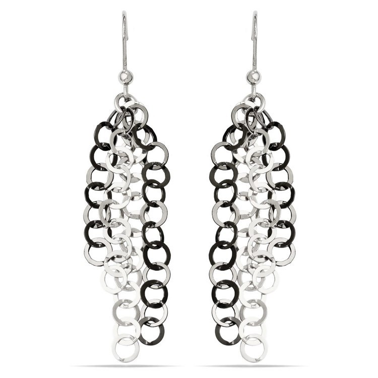 Circle Link Dangle Earrings with Blackened Finish in Silver | 01