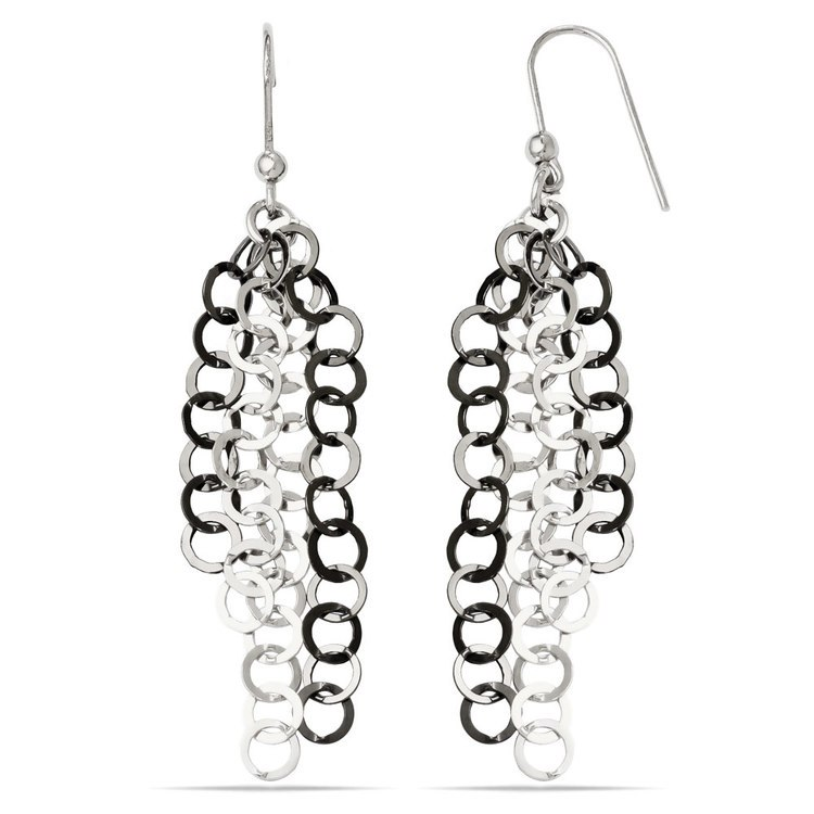 Circle Link Dangle Earrings with Blackened Finish in Silver | 02