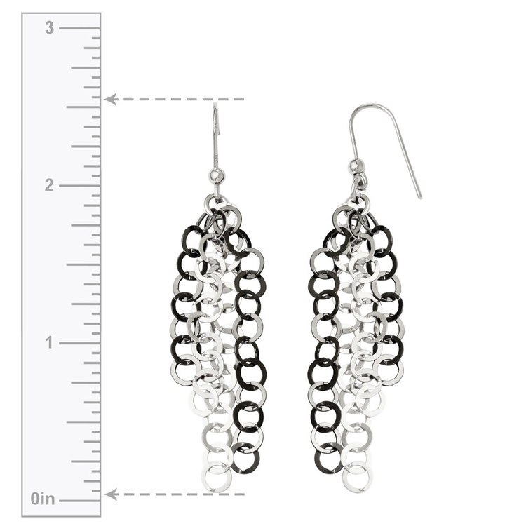 Circle Link Dangle Earrings with Blackened Finish in Silver | 03