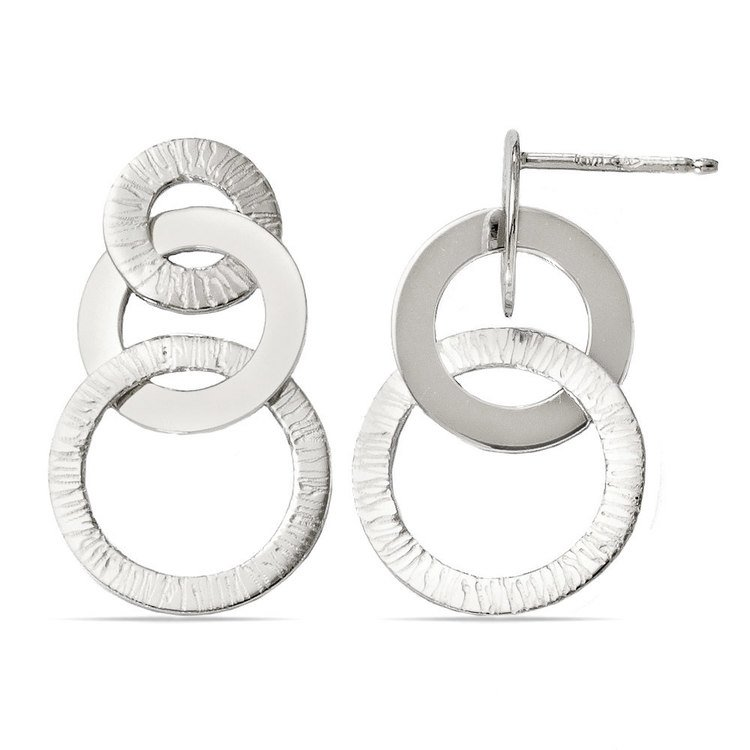 Circle Link Textured Dangle Earrings in Silver | 02