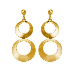 Circle Dangle Earrings with Mixed Finish in Yellow Gold