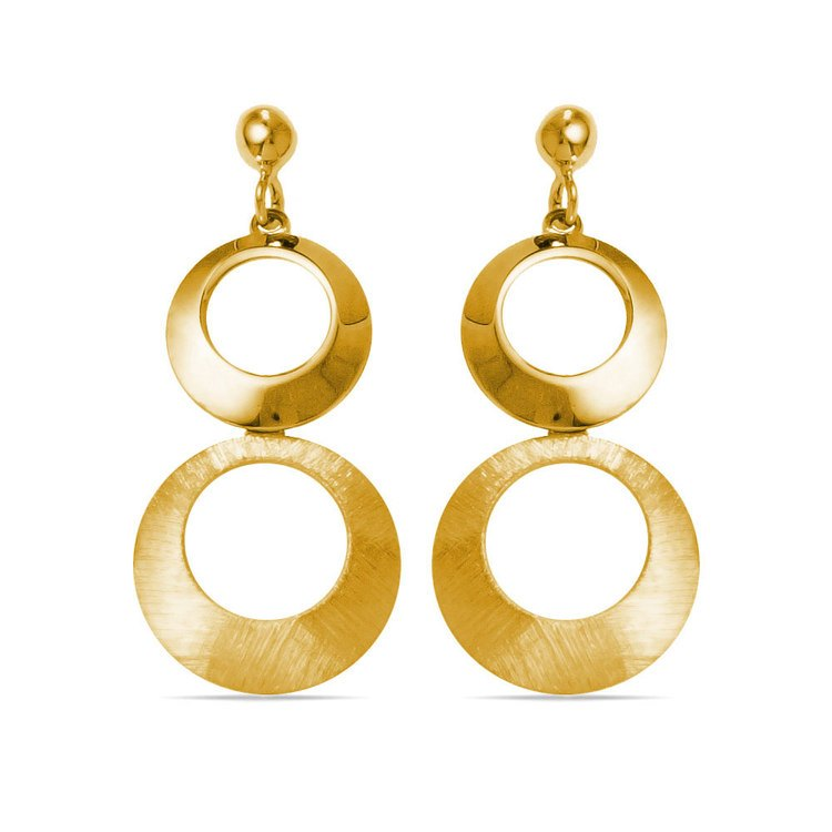 Circle Dangle Earrings with Mixed Finish in Yellow Gold | 01