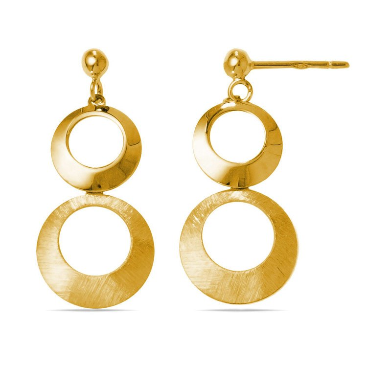 Circle Dangle Earrings with Mixed Finish in Yellow Gold | 02