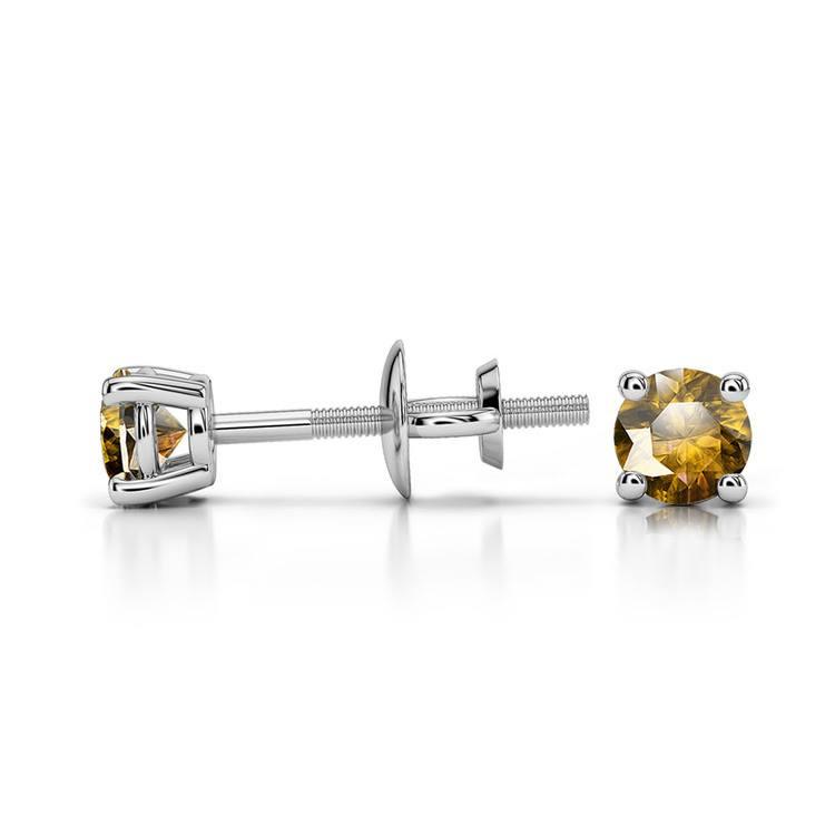 Citrine Round Gemstone Stud Earrings in Platinum (3.2 mm) | 03