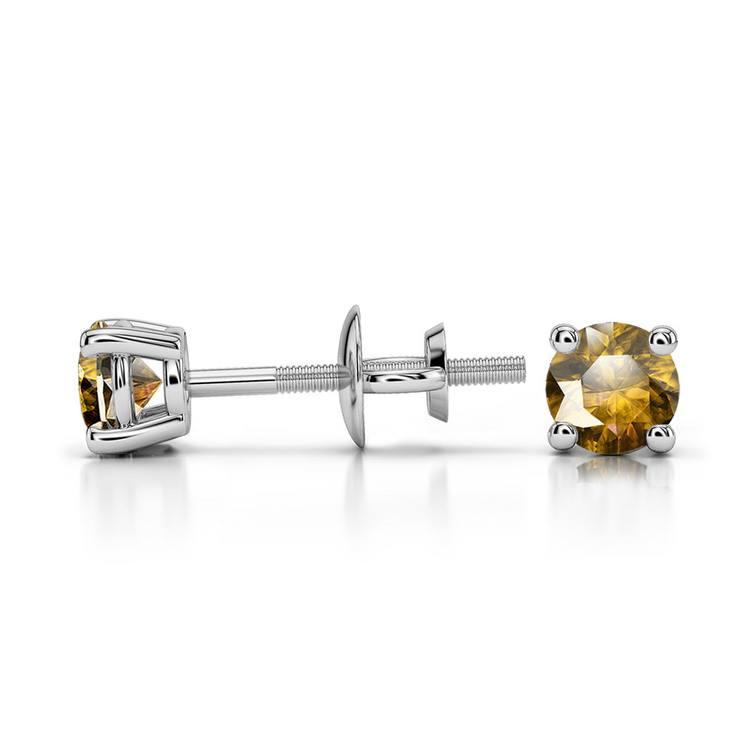 Citrine Round Gemstone Stud Earrings in Platinum (3.4 mm) | 03