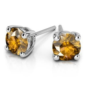 Citrine Round Gemstone Stud Earrings in White Gold (4.1 mm)