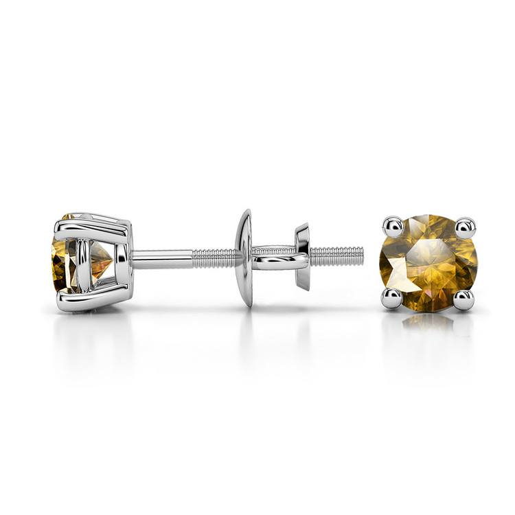 Citrine Round Gemstone Stud Earrings in White Gold (4.1 mm) | 03
