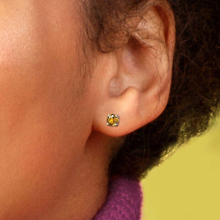 Citrine Round Gemstone Stud Earrings in White Gold (4.1 mm) | 04