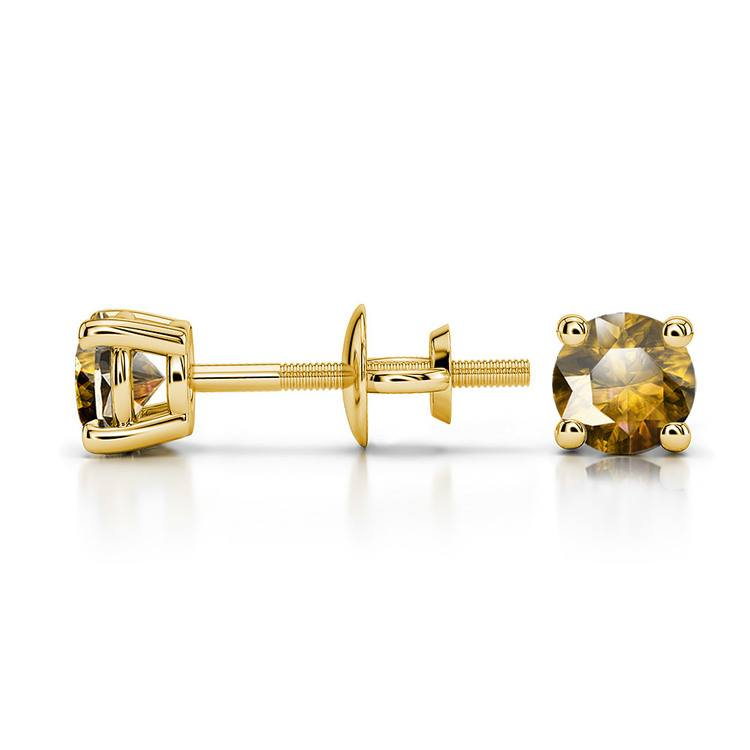 Citrine Round Gemstone Stud Earrings in Yellow Gold (4.1 mm) | 03