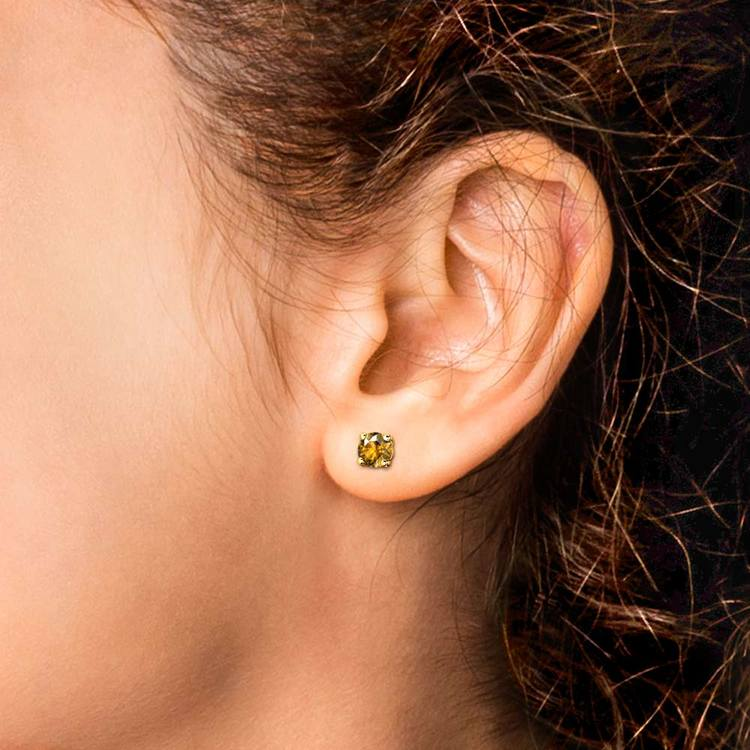Citrine Round Gemstone Stud Earrings in Yellow Gold (4.1 mm)   04