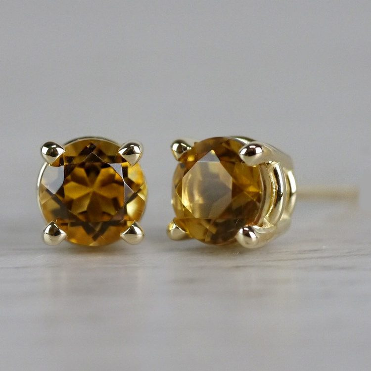 Citrine Round Gemstone Stud Earrings in Yellow Gold (4.5 mm) | 04