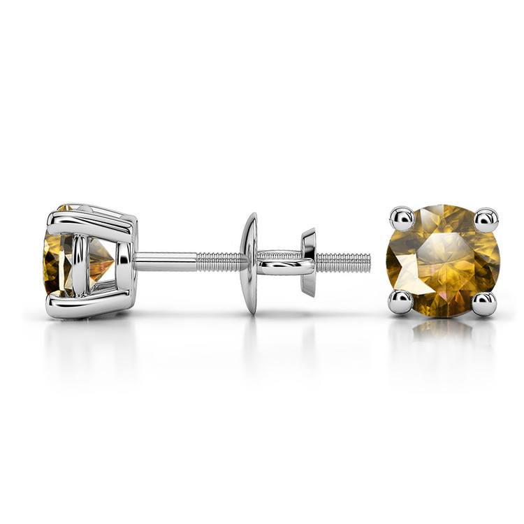 Citrine Round Gemstone Stud Earrings in White Gold (5.1 mm) | 03