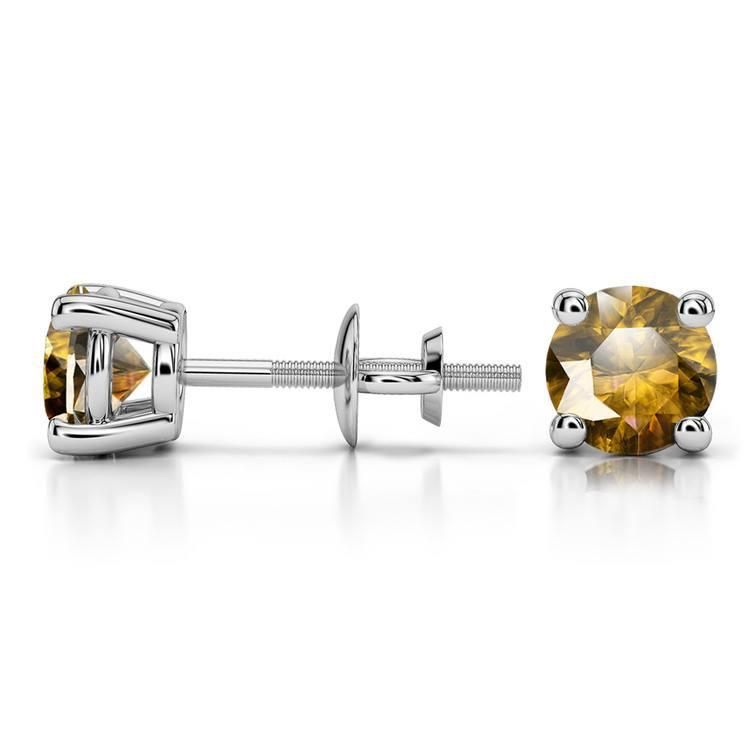 Citrine Round Gemstone Stud Earrings in Platinum (5.9 mm) | 03