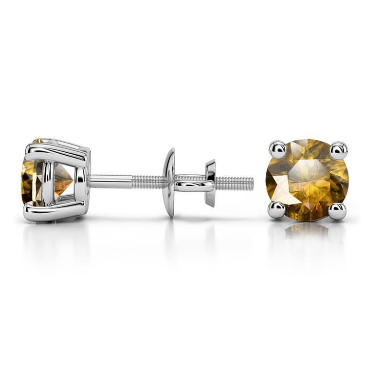 Citrine Round Gemstone Stud Earrings in White Gold (5.9 mm) | 03