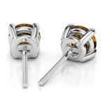 Citrine Round Gemstone Stud Earrings in Platinum (6.4 mm) | Thumbnail 01