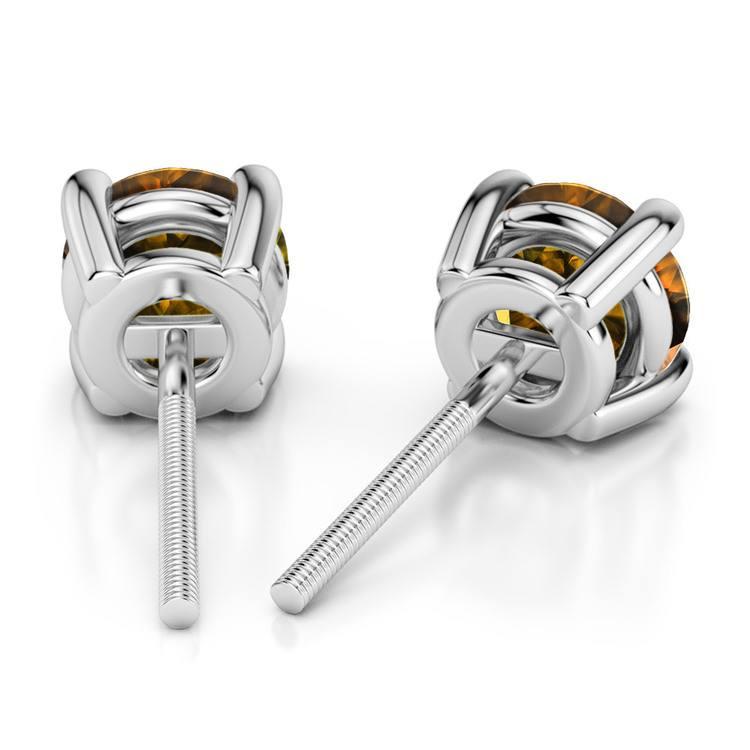 Citrine Round Gemstone Stud Earrings in Platinum (6.4 mm) | 02