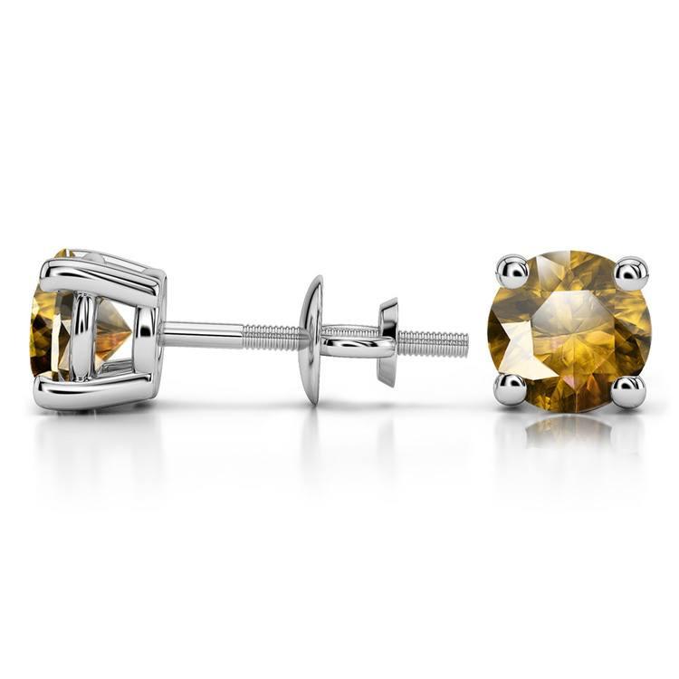 Citrine Round Gemstone Stud Earrings in Platinum (6.4 mm) | 03
