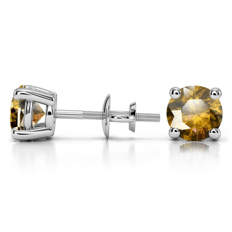 Citrine Round Gemstone Stud Earrings in White Gold (6.4 mm) | 03