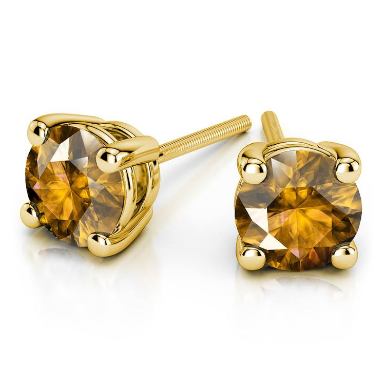 Citrine Round Gemstone Stud Earrings in Yellow Gold (6.4 mm) | 01