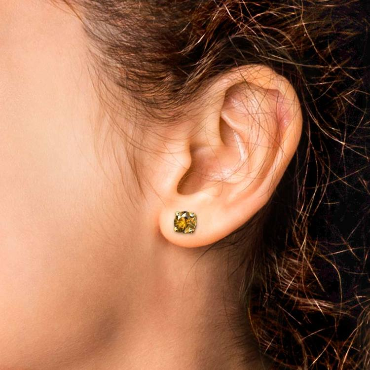 Citrine Round Gemstone Stud Earrings in Yellow Gold (6.4 mm) | 04