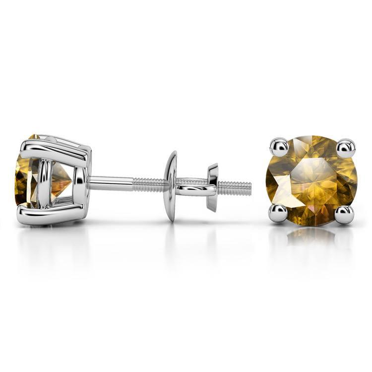 Citrine Round Gemstone Stud Earrings in Platinum (7.5 mm) | 03