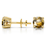 Citrine Round Gemstone Stud Earrings in Yellow Gold (7.5 mm) | Thumbnail 01
