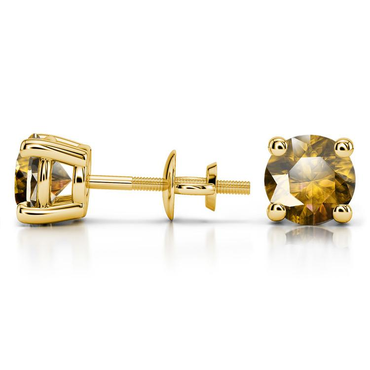 Citrine Round Gemstone Stud Earrings in Yellow Gold (7.5 mm) | 03