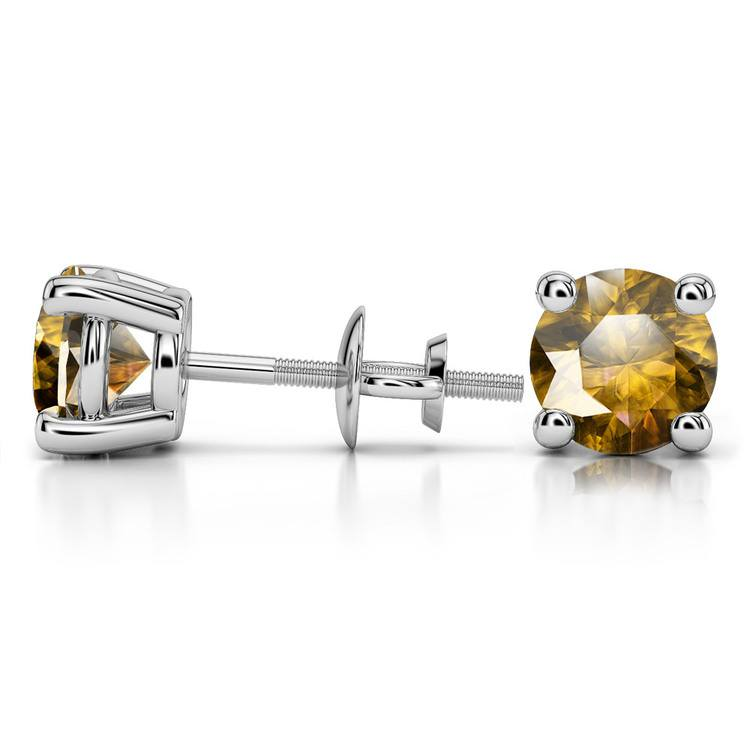 Citrine Round Gemstone Stud Earrings in White Gold (8.1 mm) | 03