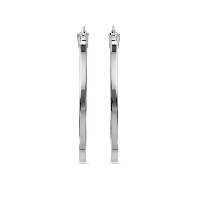 Classic Oval Hoop Earrings in White Gold | 02
