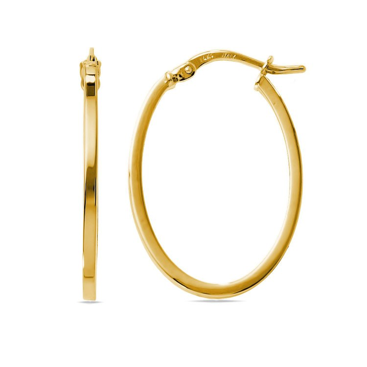 Classic Oval Hoop Earrings in Yellow Gold | 01
