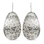 Cloud Etched Dangle Earrings with Blackened Finish in Silver | Thumbnail 01