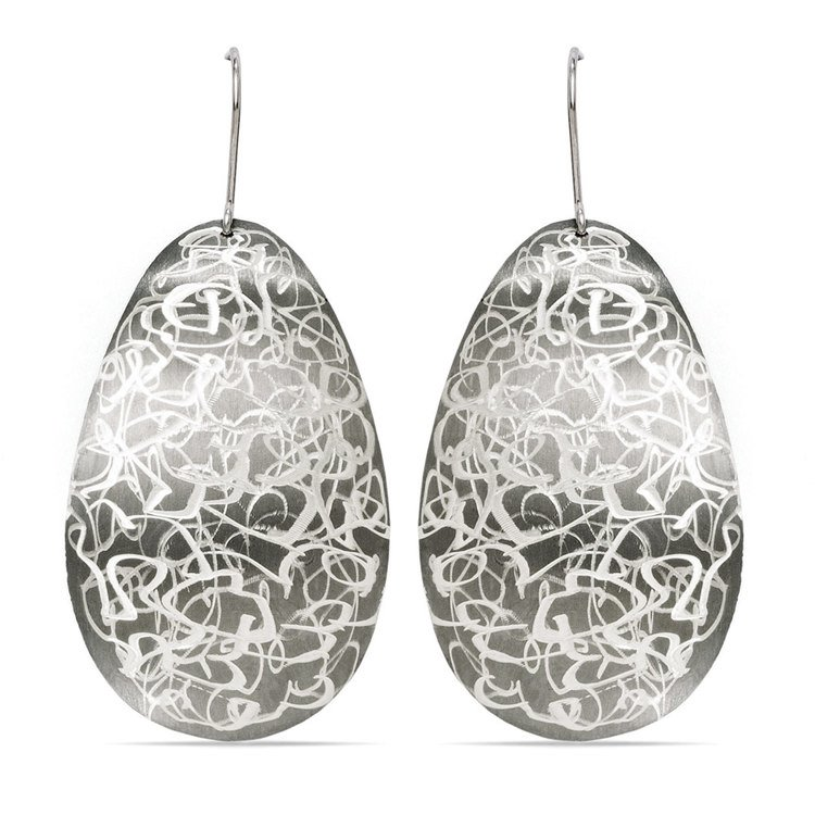 Cloud Etched Dangle Earrings with Blackened Finish in Silver | 01