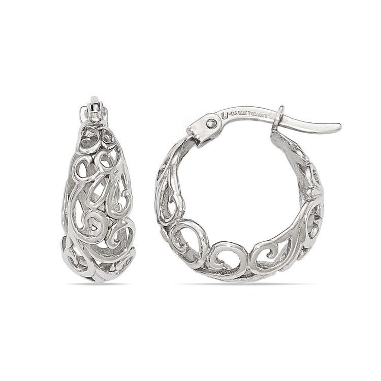 Cloud Filigree Hoop Earrings in White Gold | 01