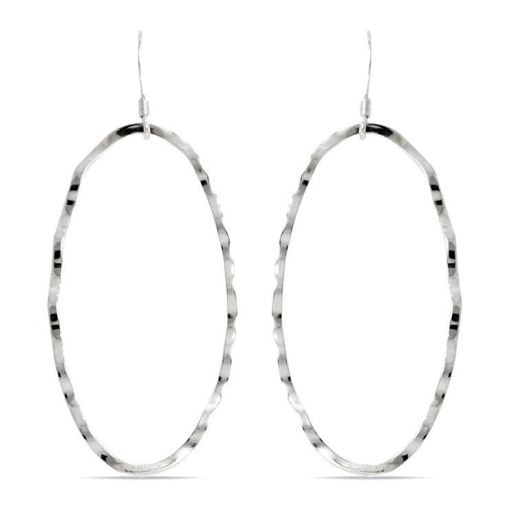 Crinkled Oval Dangle Earrings in Silver | 01