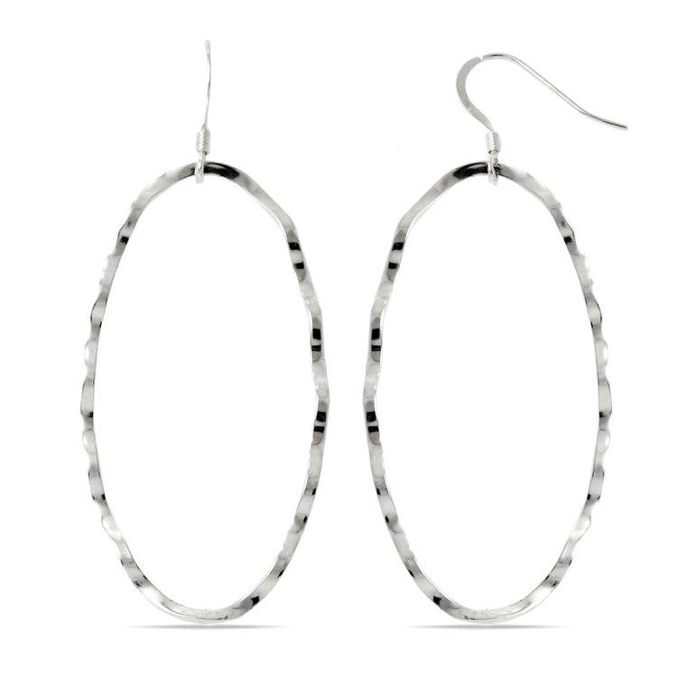 Crinkled Oval Dangle Earrings in Silver | 02