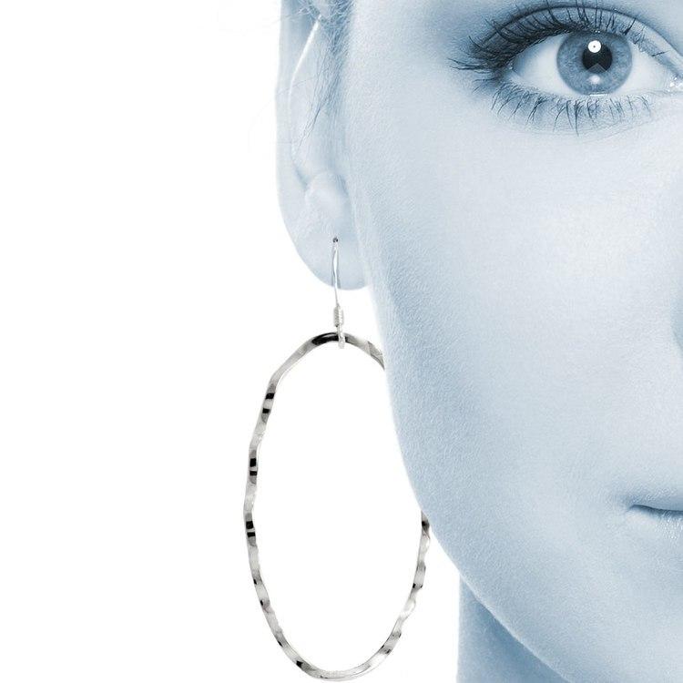 Crinkled Oval Dangle Earrings in Silver | 04