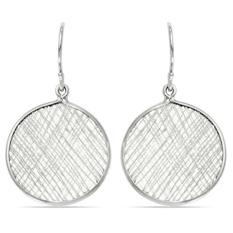 Cross-Hatch Coin Dangle Earrings in Silver | 01