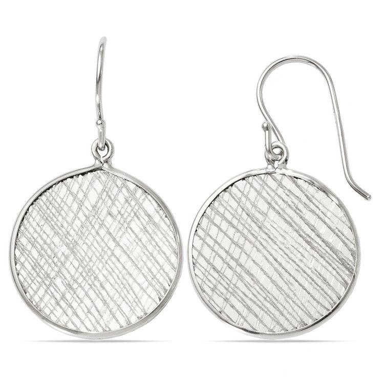 Cross-Hatch Coin Dangle Earrings in Silver | 02