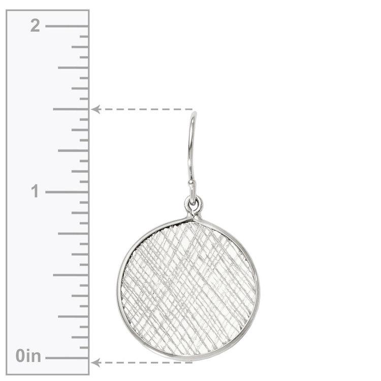 Cross-Hatch Coin Dangle Earrings in Silver | 03