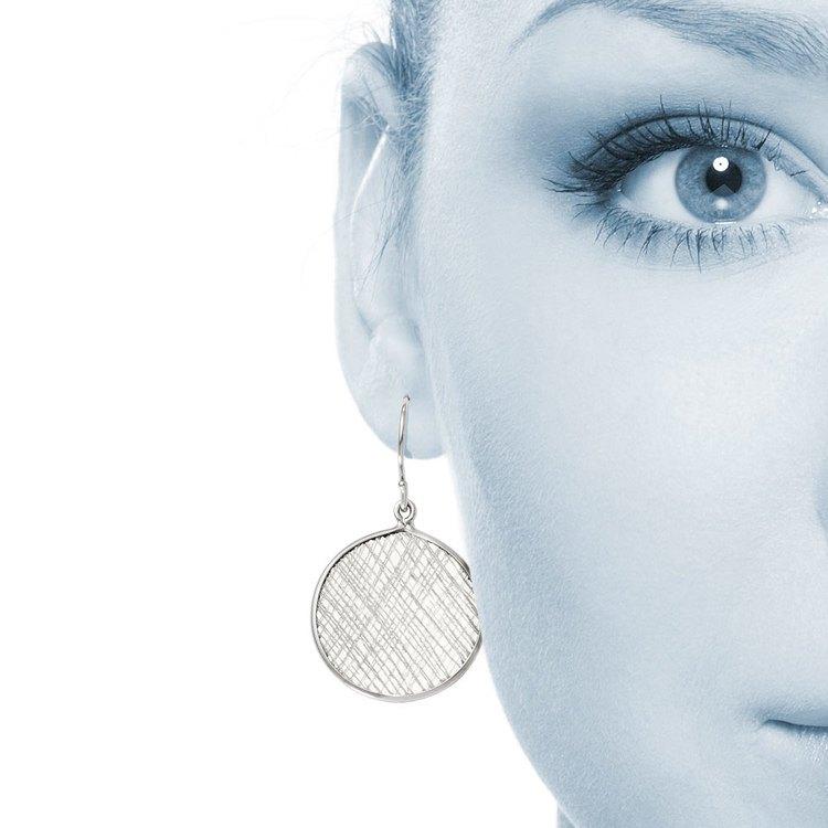 Cross-Hatch Coin Dangle Earrings in Silver | 04