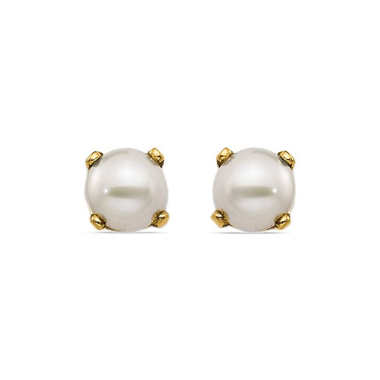 Cultured Pearl Earrings in Yellow Gold   01