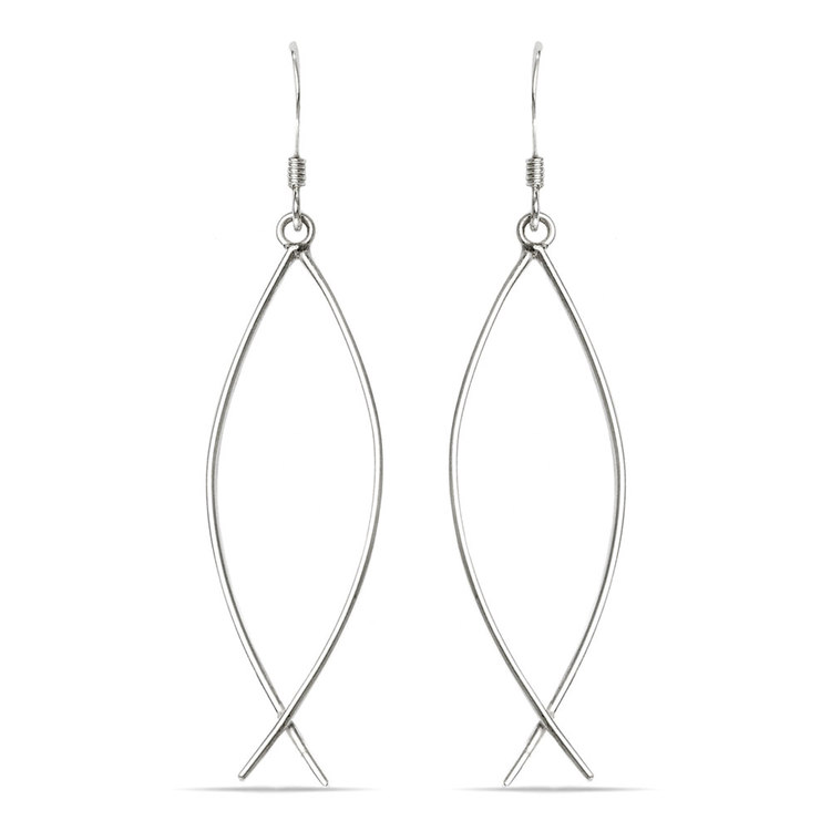Curved Wire Dangle Earrings in Silver | 01