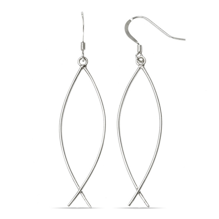 Curved Wire Dangle Earrings in Silver | 02