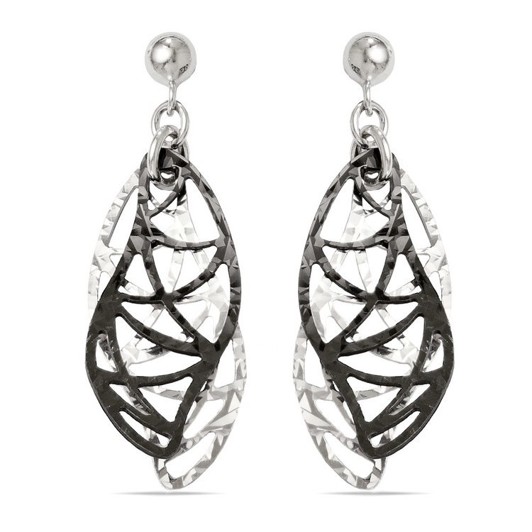 Curvy Double Drop Dangle Earrings with Blackened Finish in Silver | 01
