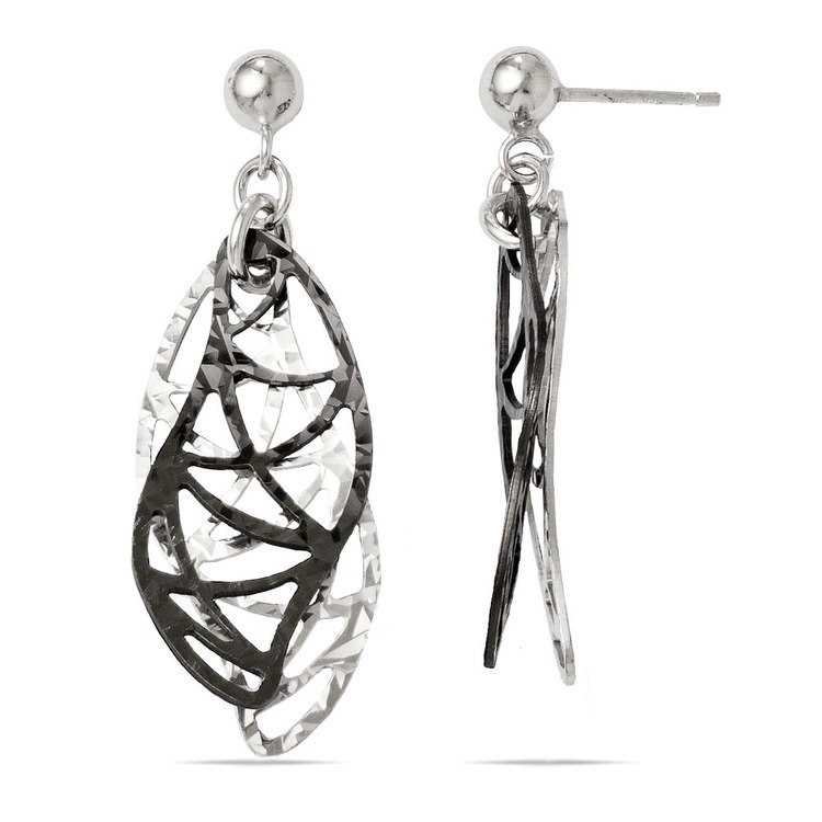 Curvy Double Drop Dangle Earrings with Blackened Finish in Silver | 02