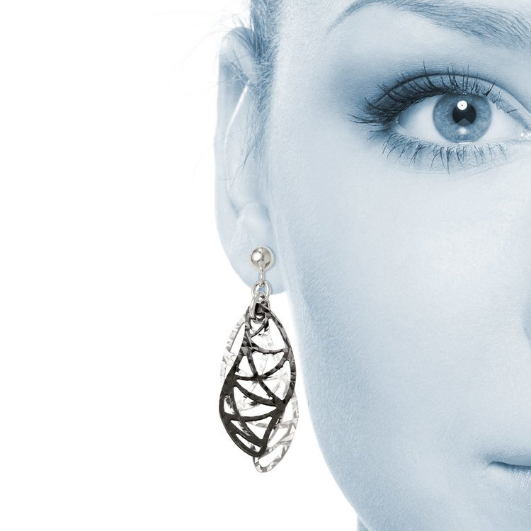 Curvy Double Drop Dangle Earrings with Blackened Finish in Silver | 04